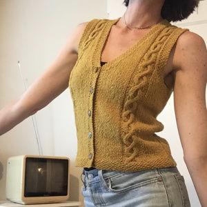 vintage 80s 90s button boho knit sweater vest top